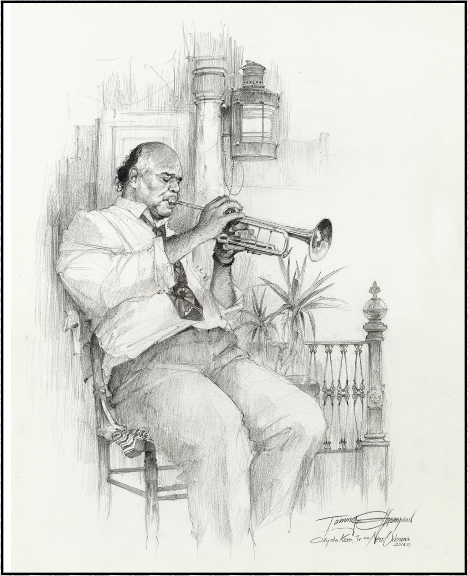 "Image of my drawing "" New Orleans Trumpet"""