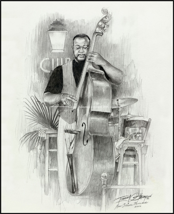 """ New Carbon Pencil Drawing, New Orleans Bazzman"""